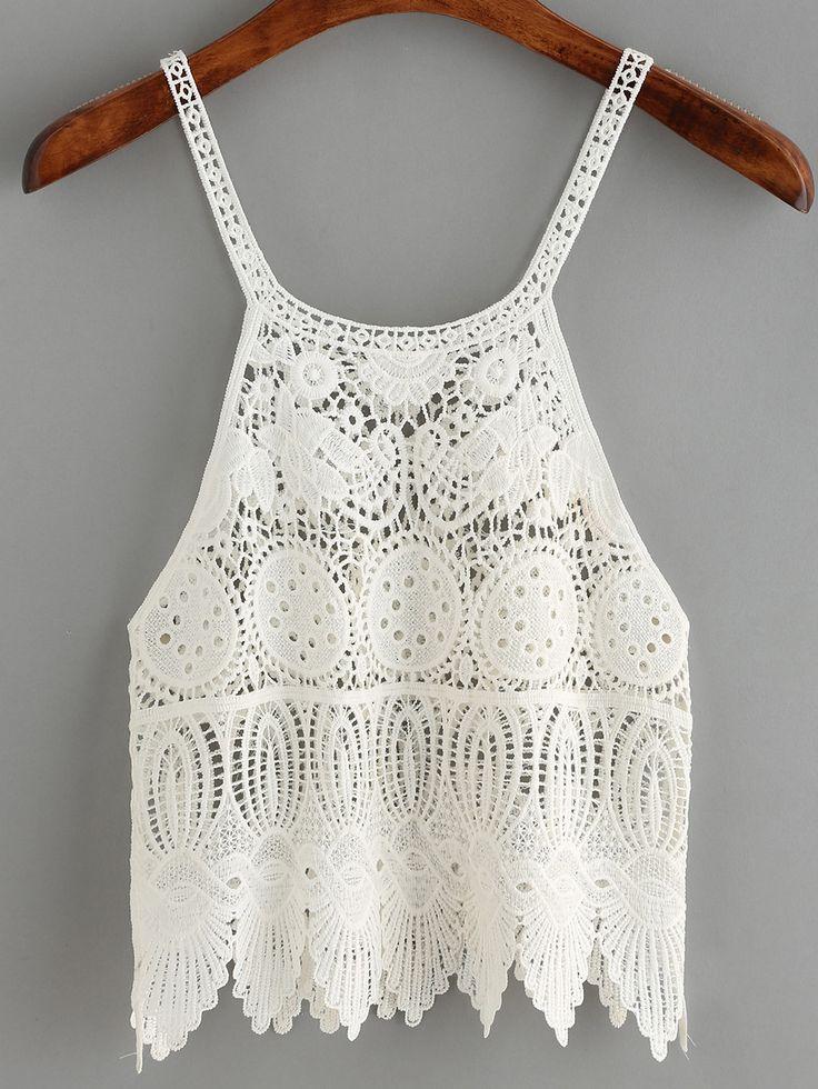 White Spaghetti Strap Crochet Cami Top.    -SheIn