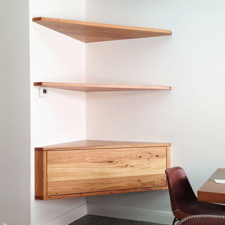 Recycled Messmate floating corner shelves. Timber Revival Melbourne.