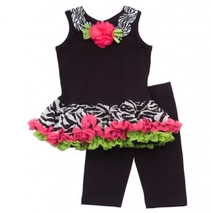 Newborn Tutu Tiered Ruffle Sundress and Legging Set