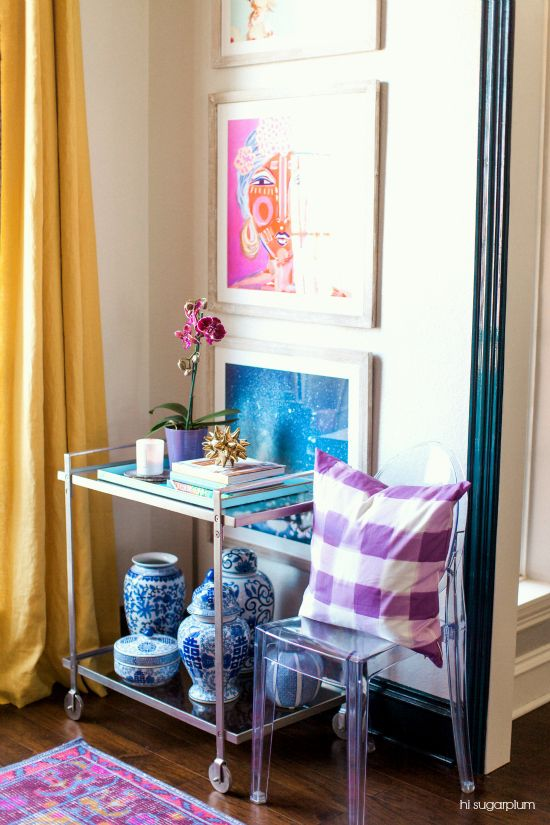 Hi Sugarplum | How to style a bar cart for everyday decor