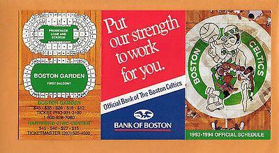 1993-94  NBA BASKETBALL BOSTON CELTICS GAME POCKET SCHEDULE