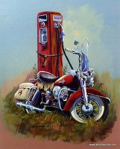 A vintage classic motorcycle (a Harley Davidson?) rests against an old Texaco Fire Chief gas pump in this great print titled DRESSER by Dale Klee. The signed and numbered limited edition print comes i