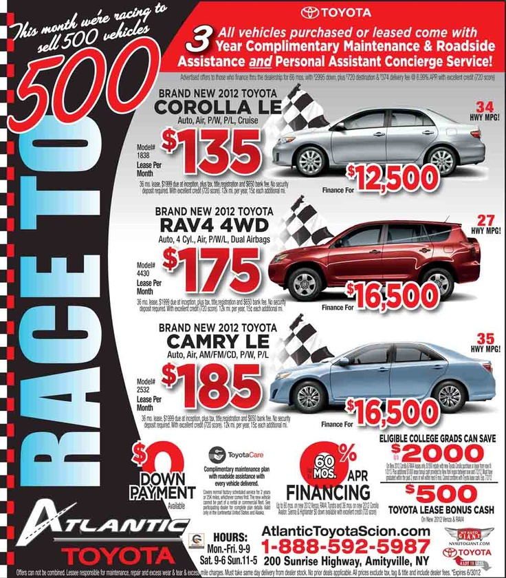 Stop by #atlantictoyota for the #toyota sales event! WE MUST SELL 500!