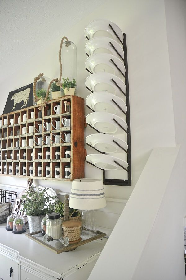 Dining Room Plate Rack - Farmhouse style dining room.
