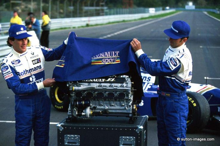 Senna and Hill unveil the Renault V10 engine powering the Williams FW16 in 1994