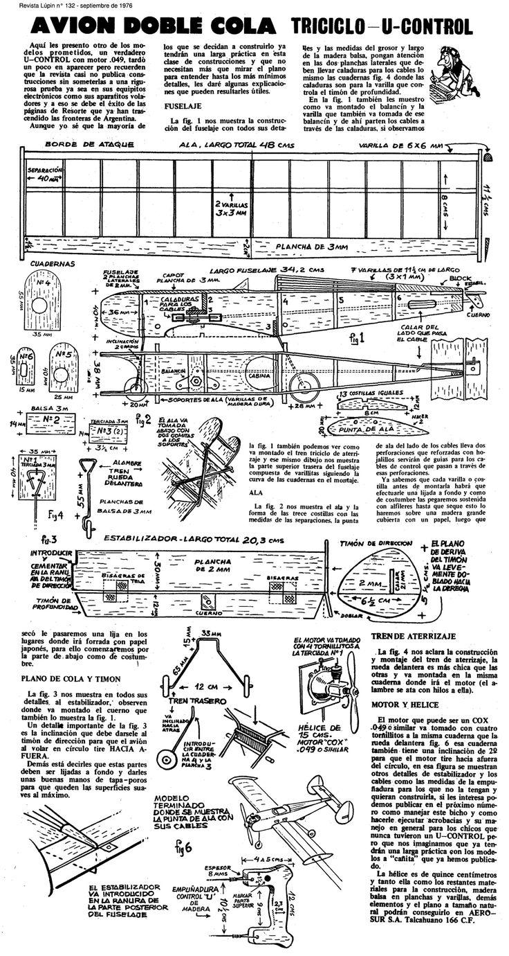 Planitos de Lúpin - Avión doble cola triciclo U control