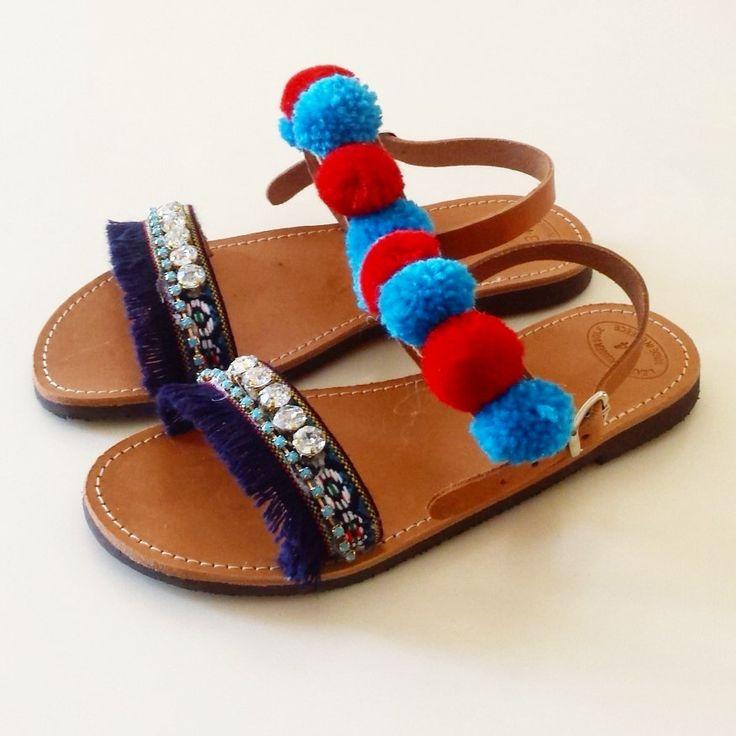 "Blue Pompom ""Skiathos"" Leather Sandals, Mommy and Me Sandals, Handmade Sandals, Bohemian Sandals, Leather Sandals, Worldwide Shipping by GlowHandmade on Etsy"