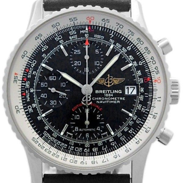 Breitling Navitimer Heritage A13324 Stainless Steel & Leather Black Dial Automatic 42mm Mens Watch