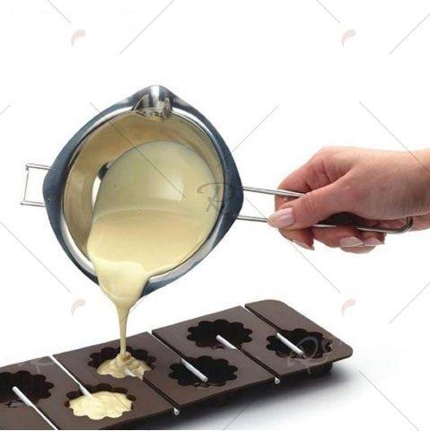 400ml Stainless Steel Melt Pot Filter Spoon for Chocolate Butter Milk
