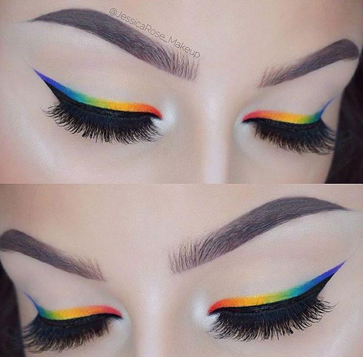eyeliner rainbow perfect brows Rainbow eyeliner Perfect browsYou can find Pride makeup looks and more on our website Makeup Eye Looks, Eye Makeup Art, Cute Makeup, Makeup Inspo, Eyeshadow Makeup, Eyeshadow Palette, Glitter Eyeshadow, Dark Eyeshadow, Eyeshadows