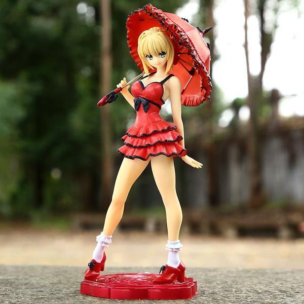 Fate Stay night Saber cyan sword PVC figure statue doll figurine toy manga