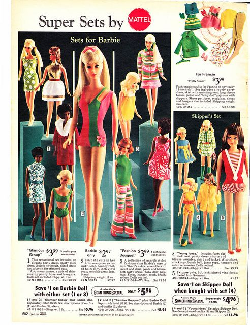 Barbie, Francie and Skipper Fashions from the Sears Christmas Wish Book Catalog, 1970