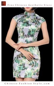 c991889ba4 Chinese Cheongsam Qipao Gown - Vintage Cocktail Dress Asian Fashion Chic   124