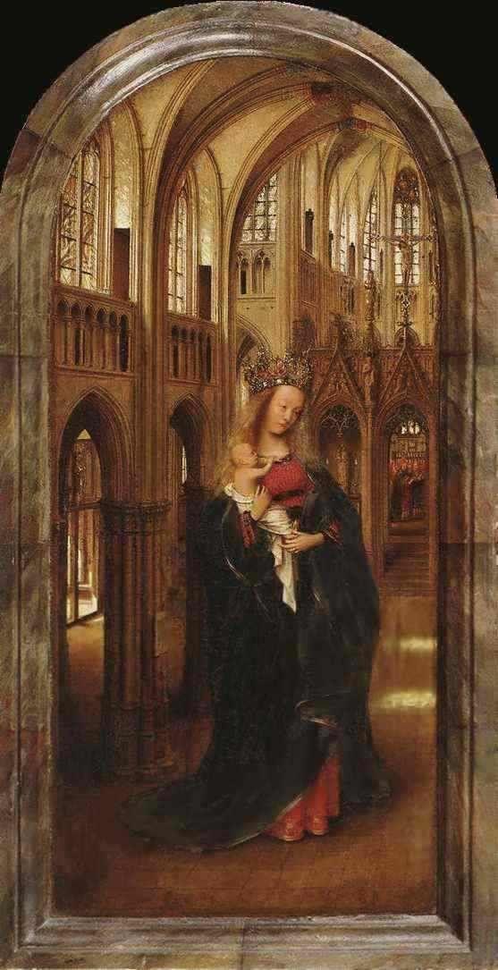 Не позднее 1426 г. была написана «Мадонна в церкви» — одна из ранних работ Ван Эйка. Как и большинство его произведений, картина как бы светится изнутри, рождая ощущение возвышенной радости.