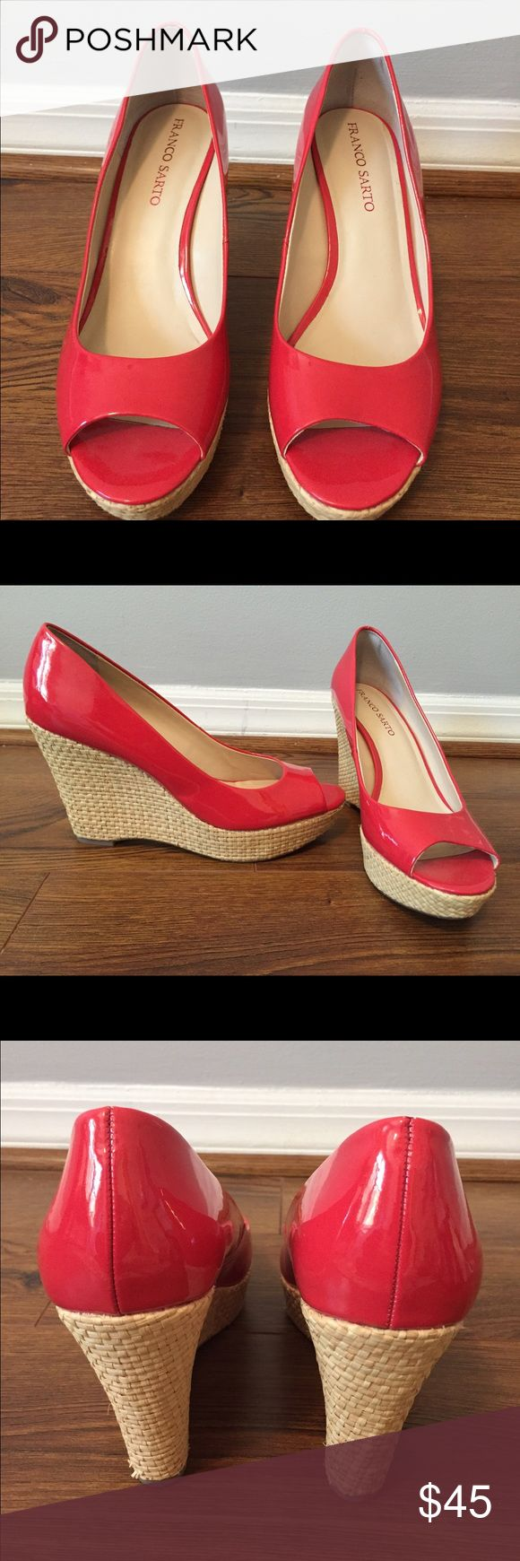 Franco Sarto Coral Peep-toe Wedge NEVER WORN, perfect condition!!  Gorgeous and bright coral wedge that will give any outfit the perfect pop of color.  Perfect for vacation or  spring and summer days. Franco Sarto Shoes Wedges