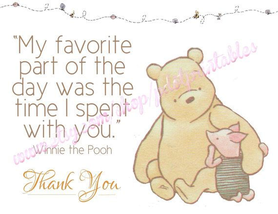 Gender Neutral Classic Winnie the Pooh Thank You by pdotprintables, $3.00