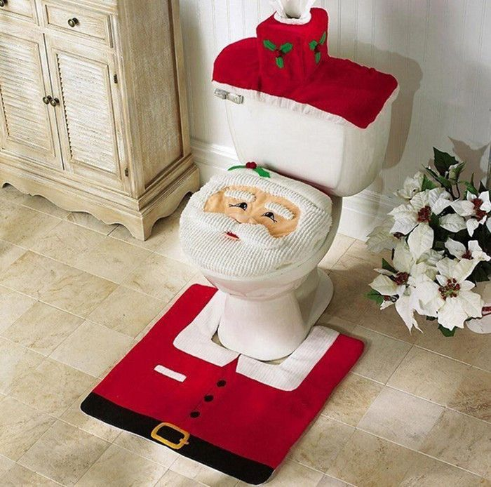 Merry Christmas Fancy Santa Toilet Seat Cover 3 pcs Rug Bathroom Set Contour Rug Christmas Decorations Natal Navidad Decor ch001
