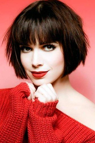 Short Layered Bob with Blunt Bangs