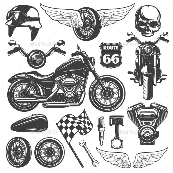 Motorcycle Icon Set by VectorPot Motorcycle black isolated icon set with recognizable objects and attributes of bikers vector illustration. Editable EPS and Render