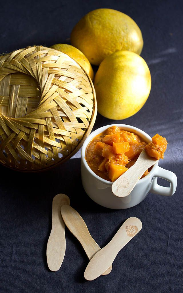 sweet ripe mango chutney recipe - it is a south indian chutney made from sweet and ripe mangoes along with coconut. quick mango chutney recipe.