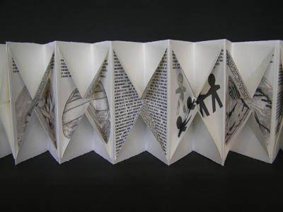 The Battle Within by Helen Malone. 2007. Concertina book. Arches paper containing inkjet prints of text, drawings, cutout and collagraph, PVC and Arches paper covers. The text and images relate the effects of war on veterans returned from war service and their families. The inward folding pages reflect an inward post-traumatic state. 22 cm x 11 cm x 3 cm.