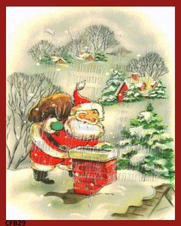 Christmas Fabric Quilt Block Vintage Santa by MermaidFabricBlocks