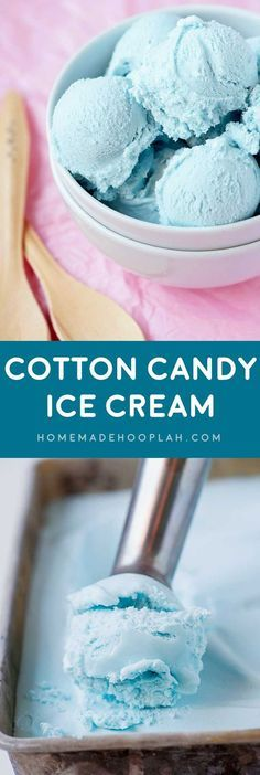 Cotton Candy Ice Cream! Celebrate the season with the treat that embodies summer fun (cotton candy) in the form of chilly ice cream. Cool off while enjoying a nostalgic sugar high! | http://HomemadeHooplah.com