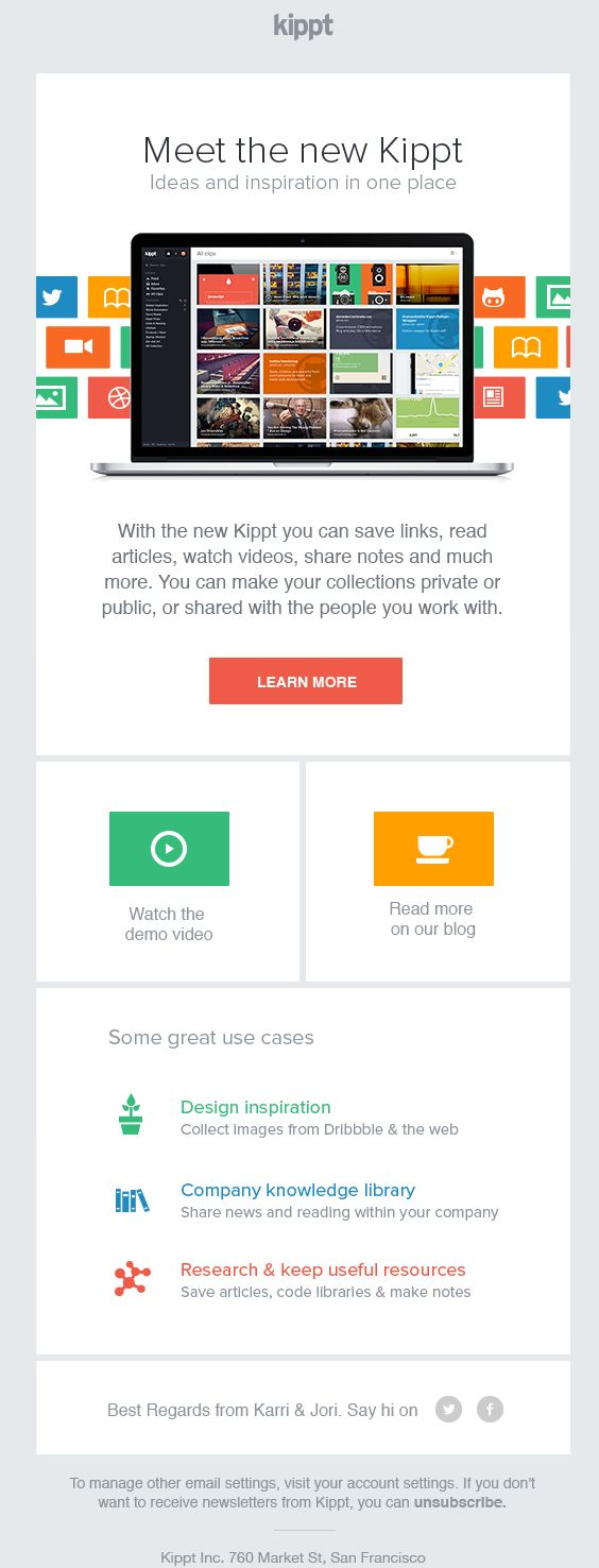 Nice, neat introduction to something e-mail  Kippt – Newsletter HTML email marketing design