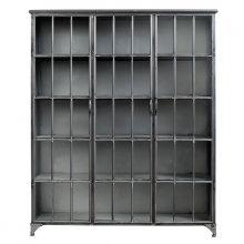 Glasschrank Vitrine Downtown Metall raw groß von Nordal, 180 x 15 x 35,  1.500,00 € - der passt besser bei uns als der schwarzer
