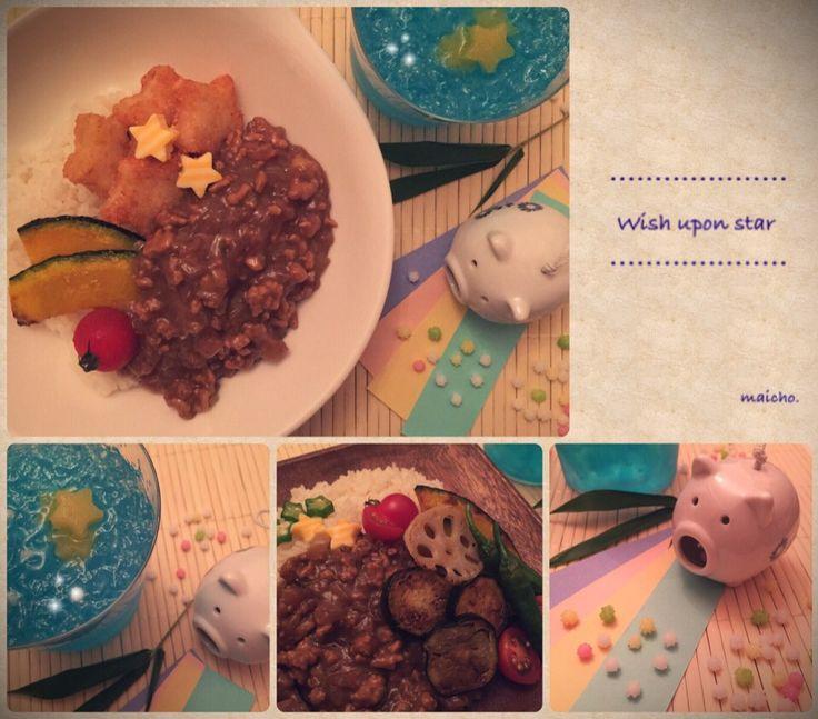 Mai Hana's dish photo 七夕カレーと飲むしゅわしゅわソーダゼリー | http://snapdish.co #SnapDish #節約料理 #晩ご飯 #七夕 #簡単料理 #ジュース