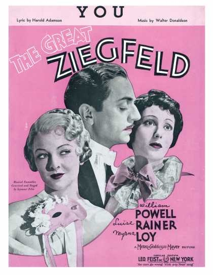The Great Ziegfeld 1936 sheet music (Myrna Loy and William Powell)