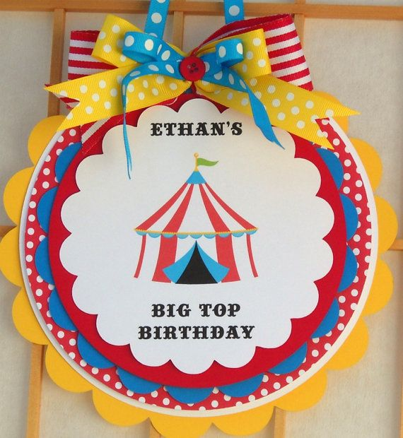 Deluxe Door Sign - Party Sign - Circus Carnival Party - Big Top Birthday - Primary Colors. $13.00, via Etsy.
