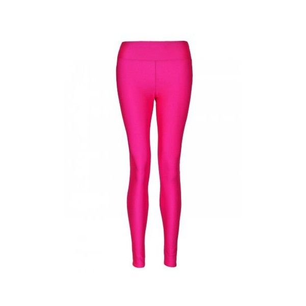 Neon Pink High Waisted Shiny Disco PVC Leggings (13 AUD) ❤ liked on Polyvore featuring pants, leggings, high-rise leggings, high-waisted pants, white leggings, disco leggings and high waisted leggings