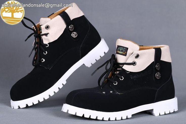 Custom Creamy-White Black Men's Timberland Roll Top Outlet Boots $87.99