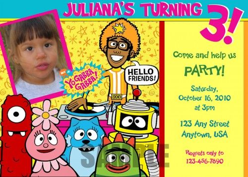 289 best yo gabba gabba birthday party images on pinterest | yo, Wedding invitations