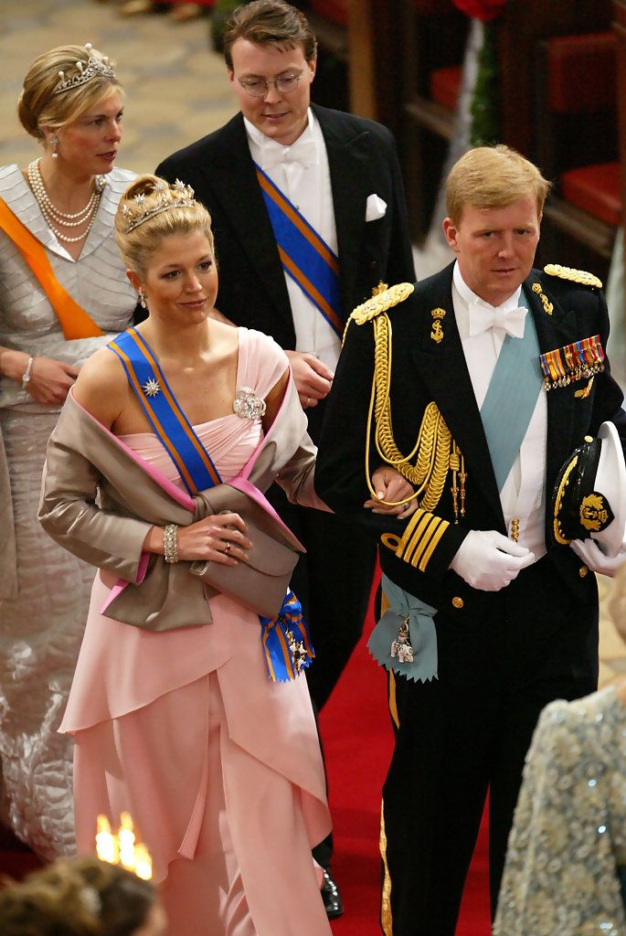 Crown Princess Maxima and Crown Prince Willem-Alexander of the Netherlands inside Copenhagen Cathedral (behind them is Princess Laurentien and Prince Constantijn of the Netherlands seen); wedding of Crown Prince Frederik of Denmark and ms. Mary Donaldson, May 14th 2004