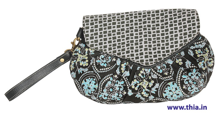 Day To Night Clutch -  Pleated Body for Extra Volume, Leatherite Yoke For Sturdy Finishing, Magnetic Fastenings On Front Flap, Fully Lined In Contrasting Printed Cotton, Internal Zip Compartment. - Rs. 650.00