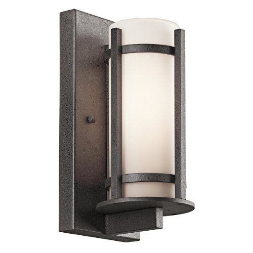 Kichler Lighting 49119AVI Camden 11-Inch High Light Outdoor Wall Lantern, Anvil Iron with Opal-Etched Glass by Kichler. Save 34 Off!. $94.50. From the Manufacturer                The Kichler Lighting 49119AVI Camden Light Outdoor Wall Lantern with its simple, structural lines bring something extra to define your style and complement your home. The architectural lines of the anvil iron finish encases the opal-etched glass. Whether you are looking for that perfect outdoor wall lantern ...