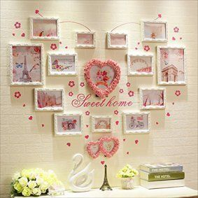 Heart shaped wall décor is trendy, adorable and charming. You can get all kinds of unique home décor ideas from looking at different pieces of heart wall art décor and come up with something interesting and cute of your own. I love combining heart wall clocks with abstract metal shaped wall art along with some heart shaped wall décor accents   Multi Picture Frame Set, Large Photo Frame Wall Set, Best Wall Decorations ( Color : Pink and white frame )