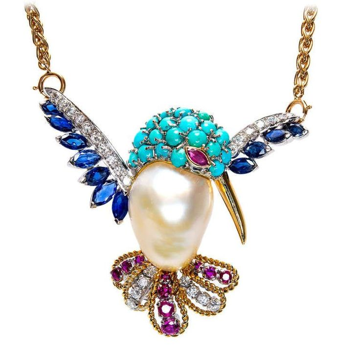 Pearl Turquoise Ruby Sapphire Diamond Hummingbird Pin Pendant | From a unique collection of vintage more necklaces at http://www.1stdibs.com/jewelry/necklaces/more-necklaces/