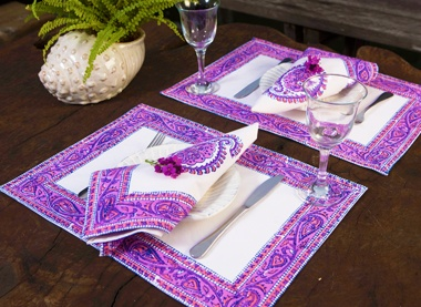 Purple Placemats - Country Placemats - Hand Block Printed from Attiser