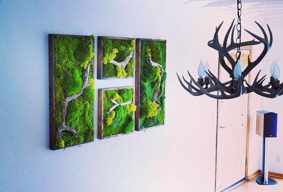 Moss Wall Art Collage. 2 18x18 and 2 18x36 moss art by WabiMoss