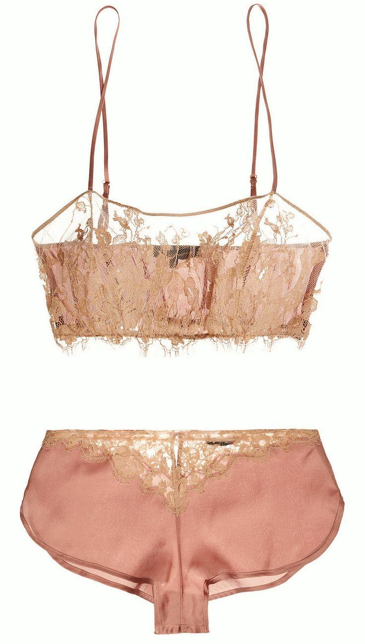 "martysimone:Kiki de Montparnasse | ""Le Reve"" silk satin & lace bandeau soft-cup bra & French knickers<3"