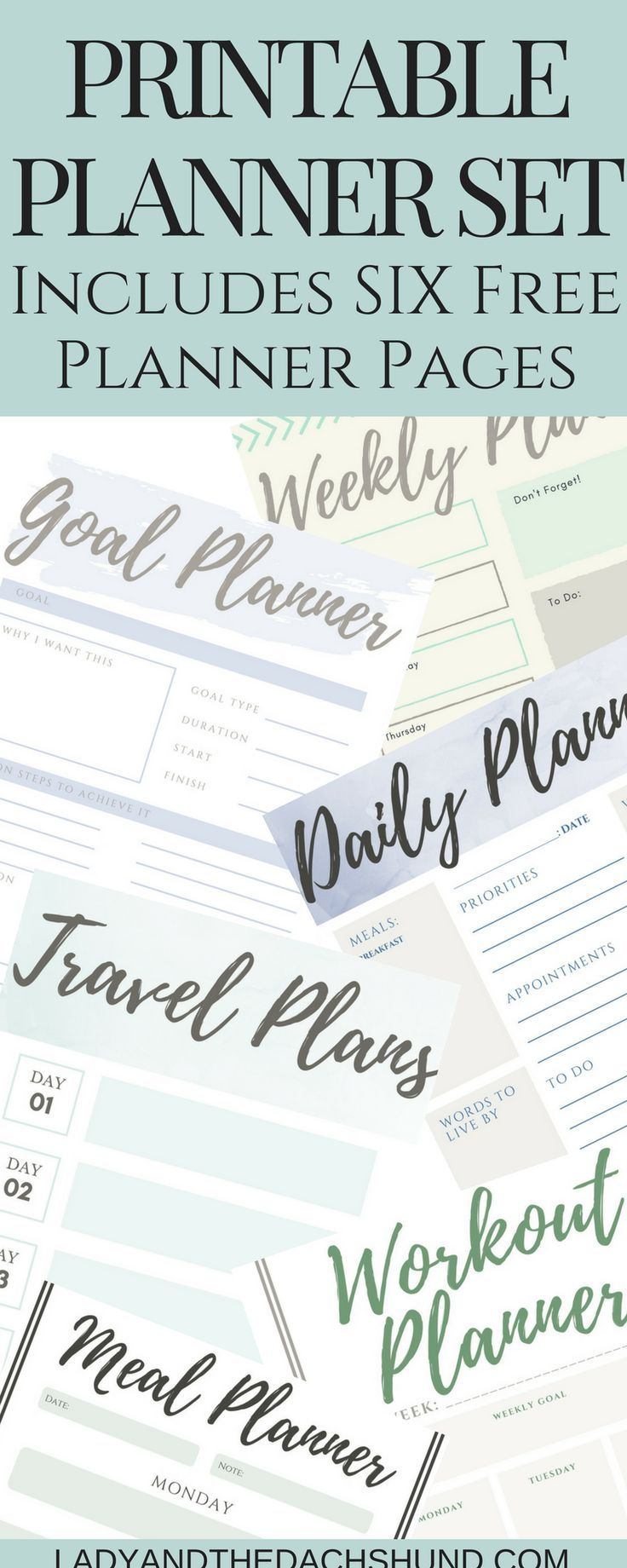 Free Rustic Farmhouse Simple Printable Planner Set Pages Daily Planner, Weekly Planner, Workout Planner, Travel Planner, Meal Planner, and Goal Planner