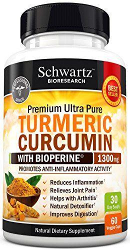 Premium Turmeric Curcumin 1300mg with Bioperine® (95% Standardized Curcuminoids) Non GMO, Gluten Free. Extra Strength Turmeric Pills with Black Pepper. No Binders. Made in the USA Money Back Guarantee