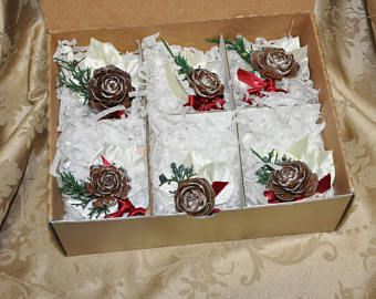 Set of 6 Fall Wedding Groomsmen Boutonnieres, Rustic, Garden, Elegant, Fall,Cedar Rose Pinecone, Vintage Millinery Leaves,