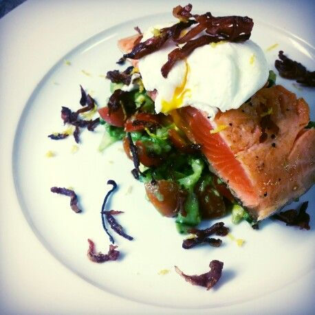 Salmon, avocado salsa, poached egg, prociutto.