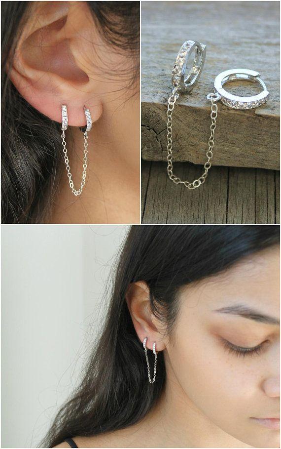 925 Silver Tassel Boucles d/'oreilles Fleur de Cristal Forme Style Women Fashion Jewelry