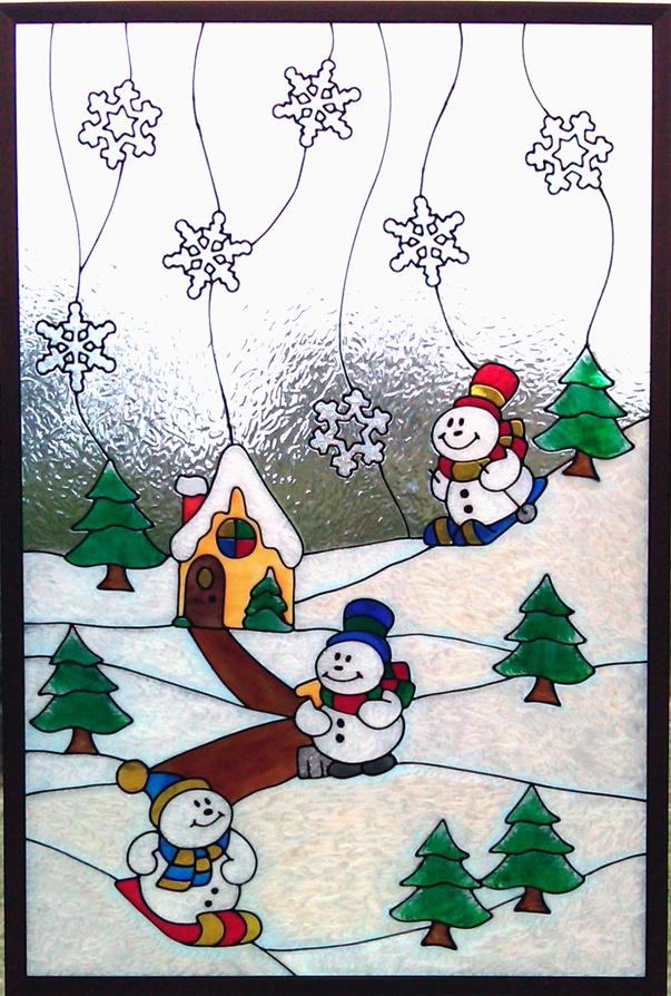 Gallery Glass Class: Winter--these are 'clings' formed by squeezing liquid 'leading' onto a cling surface and then painting it. When dry, peel off cling and put it on your window. Click on picture to go to cling site.