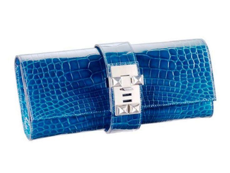 Hermes Royal Blue Alligator Medor 23 Clutch Bag | Hermes ...